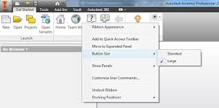 chagne ribbon inventor ribbon add commands change appearances cad tips