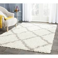 Area Rugs 6 X 10 Safavieh Dallas Shag Collection Sgd257f Ivory And Grey Area Rug 6