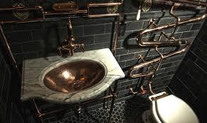 bathroom granitue top and vessel sink with steampunk bathroom