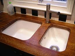 ceramic kitchen sink brown wooden countertop for kitchen island and double undermount