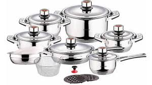swiss inox si 7000 18 piece stainless steel cookware set youtube