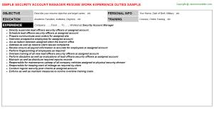 Resume Samples For Caregiver by Security Account Manager Resume Sample