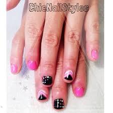 neon pink black white u0026 silver nails chic nail styles