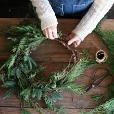 collect branches green plain brown sticks to make wreaths