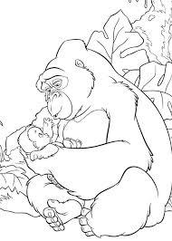coloring page of gorilla gorilla coloring page gorilla coloring pages gorilla taking care of