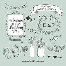 wedding items variety of wedding items vector free