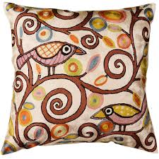 Square Sofa Pillows by Klimt Tree Of Life Birds Cream Throw Pillow Cover Hand Embroidered