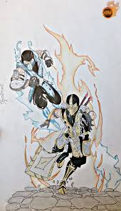 sub zero vs scorpion mortal kombat drawing by thesaikoof on