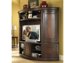 affinity curved sliding double door tv console with deck in cocoa