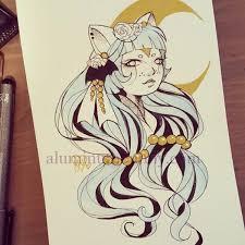 cat moon inktober sketch aluminum bunny art of joanna nagy
