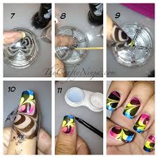 rainbow water marble nails the crafty ninja