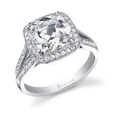 cushion diamond ring léa vintage inspired cushion cut halo engagement ring sy453