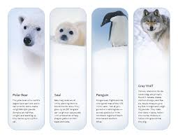 bookmarks antarctic and arctic animals template microsoft