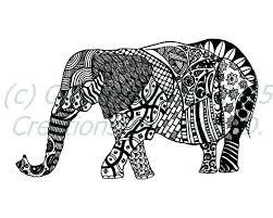 pen and ink art black and white art animals elephant art