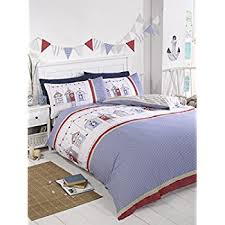 double duvet cover set summer seaside beach huts amazon co uk