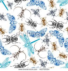 tribal ornamental insects seamless background colorful stock
