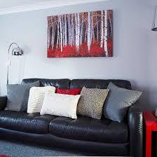 Meritage Hosts Pottery Barn Design Modern Grey And Red Living Room Red Living Rooms Living Rooms