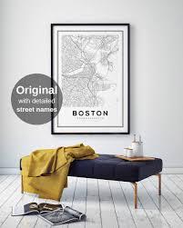Boston Street Map Boston Map Print City Map Decor City Map Wall Art
