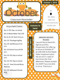 classroom newsletter important dates oct 5 p d day no school