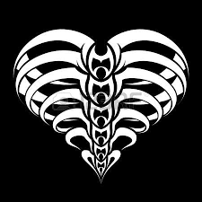 abstract heart with wings tribal tattoo design royalty free