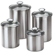 kitchen canister sets stainless steel fingerhut chef s 4 pc stainless steel canister set
