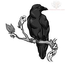 crow on flowers branch tattoo design photos pictures and