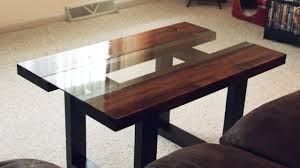 Coffee Tables Glass by Glass U0026 Wood Coffee Table With Faux Metal Legs Youtube