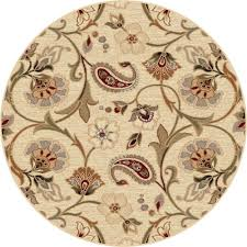 3 Round Area Rugs by Tayse Area Rugs Impressions Rug 7772 Ivory Transitional Rugs