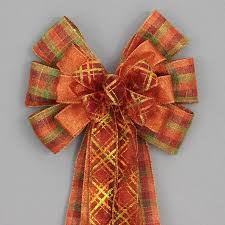 fall ribbon fall plaid metallic rustic wreath bow available in 2 sizes