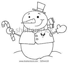 black white coloring page outline snowman stock vector 52544104