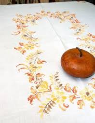 vintage banquet fall tablecloth pumpkins by lovelylinensandmore