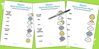 weather word and picture matching worksheet season match