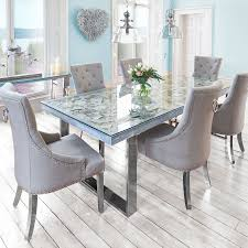 Glass Dining Table And 6 Chairs Awesome Marble And Chrome Dining Table 6 Silver Louis Chairs