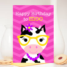 Cow Birthday Card Girl Cow Birthday Card Claudia The Cow Colour Their Day
