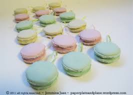 plaster french macaron ornaments paper plate and plane