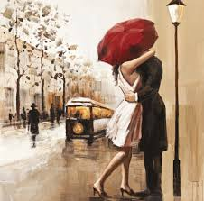 Home Decor Canvas Art Aliexpress Com Buy 2015 Couples Umbrella Love Street Painting