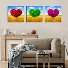 compare prices on spray paint kitchen online shopping buy low 3 panels no frame colorful love trees canvas wall art pictures paint on canvas