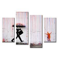 aliexpress com buy 4 pcs set banksy art colorful rain oil