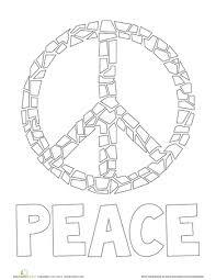 peace sign coloring page best free printable spring coloring