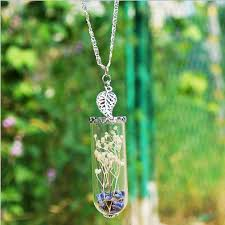 glass bottle necklace pendant images 1pc handmade lavender wish pendant leaf crystal glass bottle jpg