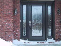 Frosted Glass Exterior Doors High Ceiling Modern House Design With Exterior Brick Wall And