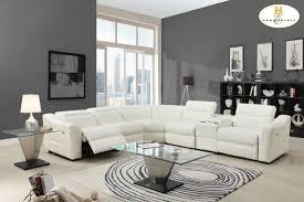 Modern White Bonded Leather Sectional Sofa 55 Modern Sofa With Recliner Dreamfurniturecom Avenue Modern