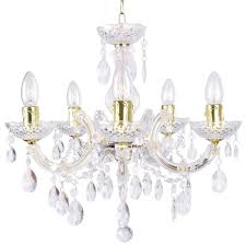 Marie Therese Crystal Chandelier Marie Therese 5 Light Dual Mount Chandelier Gold From Litecraft