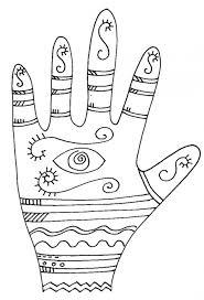 Imprimer le coloriage graphique de la main oeil  Tête à modeler