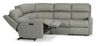 Flexsteel Chairs Fabric Power Reclining Sectional With Power Headrests By Flexsteel