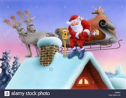 santa claus with reindeer on the house roof parking meter santa