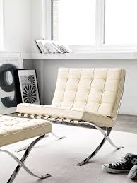 furniture elegant white barcelona chair replica on white shag