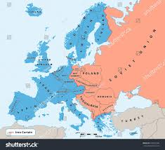 Map Of Europe 1945 by Iron Curtain Cold War Era On Stock Vector 430557289 Shutterstock