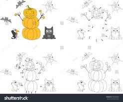 pumpkin snowman on halloween surprised crow stock vector 399649306