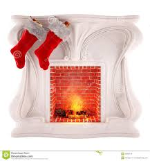 christmas fireplace decoration isolated on white background